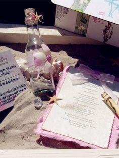 2014 pink flowers beach wedding bottle invitation, pastel pink beach wedding invitation.
