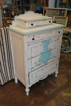 Vintage Aqua & White Tall Dresser