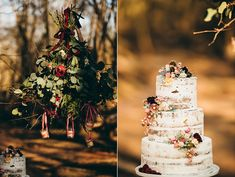 natural wedding cakes - photo by Crystal Stokes http://ruffledblog.com/sophisticated-simplicity-wedding-ideas