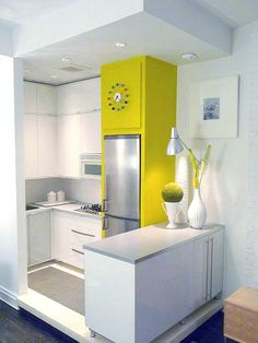 6 Jolting Cool Tips: Kitchen Remodel Layout Shape kitchen remodel with island renovation.Condo Kitchen Remodel Tips kitchen remodel layout shape.Kitchen Remodel With Island Breakfast Nooks. New Kitchen, Kitchen Decor, Kitchen Small, Kitchen Ideas, Mini Kitchen, Kitchen Yellow, Kitchen Layout, 1960s Kitchen, Cheap Kitchen