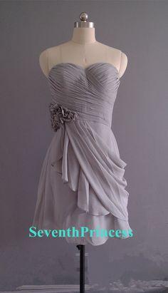 Short Grey Laceup Bridesmaid Dress by seventhprincess on Etsy, $87.00