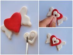 Idea for valentines day winged heart necklace out of salt dough - (shown here in fondant for cupcake topper)