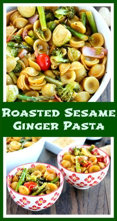 Asian Sesame Ginger Roasted Vegetable Pasta. Easy, healthy, and perfect for any veggies you have on hand!