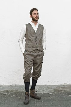Plus Fours, Tweed Run, Herringbone Fabric, Pose Reference, Suspenders, Traditional Dresses, Dapper, Trousers, Vest