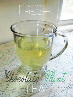 Chocolate Mint Tea using fresh mint from the garden!