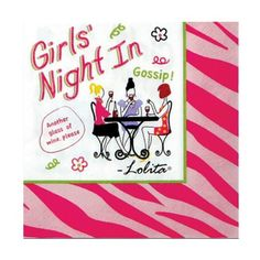 C.R. Gibson Lolita Novelty Cocktail Sized Paper Napkins, Girl's Night In, 20-Pack by C.R. Gibson. $5.67. Pack of 20 paper napkins adds color and convenience to entertaining family or friends. Working Girls designs are all about smart and sassy, fun and classy. Fun and memorable party ware and gifts - perfect to add a smile to any occasion. Cocktail sized napkins are 5 by 5-inch when folded. Look for coordinating party and gift accessories. Quality 3-ply napkins a...