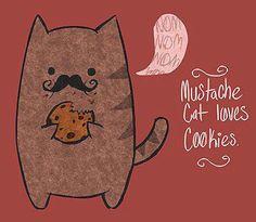 Mustache...Cat loves cookies illustration