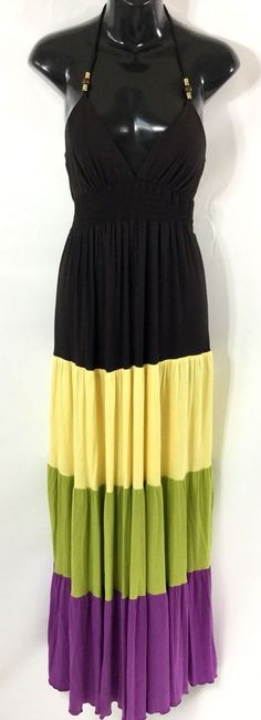 MISS BISOU Tiered Boho Beach Cruise Halter Long Maxi Smocked Dress M NWT $70  | eBay