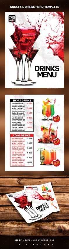 Food Flyer Adobe indesign, Adobe and Flyer template - drinks menu template