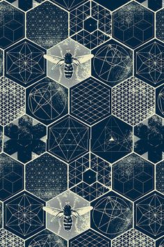 The Honeycomb Conjecture by designer strange_phenomena - Deep navy blue and cream design with geometric patterns, formulas and honeybees. Honeycomb pattern on fabric, wallpaper and gift wrap. Beautiful scientific print!