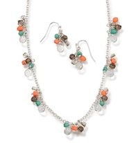 "Beaded Cluster Necklace and Earring Gift Set - Silvertone with beads. Necklace, 16 1/2"" L with 3 1/2"" extender. Pierced earrings, 1"" L. Regularly $19.99, buy Avon jewelry online at http://eseagren.avonrepresentative.com"