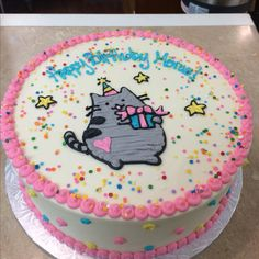 Pusheen cat cake. All buttercream. Done for The Cakery Bakery St Louis MO #thecakerystl @thecakerystl
