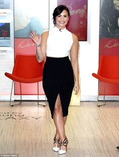 Sophisticated: Demi pictured at ABC Studios for an appearance on Good Morning America on M...