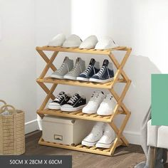 Astounding 12 Attractive Shoe Rack Design Idea To Overcome Your Shoes That A Mess At Home For you who like to collect shoes, it means that you need a lot of shoe rack. In order for different models, you should research first by looking at t. Bamboo Shoe Rack, Wood Shoe Rack, Diy Shoe Rack, Shoe Racks, Cheap Storage, Diy Storage, Diy Organization, Storage Ideas, Wood Pallet Furniture