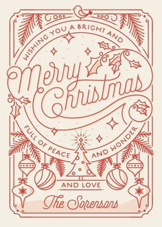 Love the design of this holiday card! - Merry Little Lines by GeekInk Design