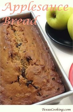 Applesauce Bread: a raisin and pecan-filled delicious quick bread; recipe from Grandma's Cookbook of kitchen-tested recipes. Raisin Nut Bread Recipe, Raisin Bread, Applesauce Bread, Bread Recipes, Cooking Recipes, Bread Rolls, Quick Bread, Food Lists, Sweet Bread