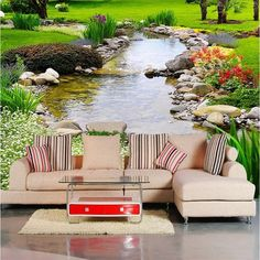 beibehang Custom photo wallpaper Large wall painting background wall paper the living room TV Nature park creek grass mural Landscape Wallpaper Living Room, Dining Room Wallpaper, Floor Wallpaper, 3d Wallpaper Background, Wallpaper Decor, Landscape Walls, Home Wallpaper, Chinese Wallpaper, Luxury Wallpaper