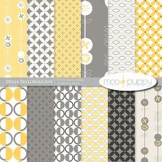 Moo & Puppy Delia Yellow & Gray Digital Scrapbook Paper Pack