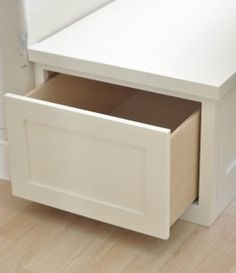 pull out drawer storage in banquette seating
