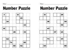 Here's a set of number puzzle frames where students work to fill in the missing numbers on a 120 chart.