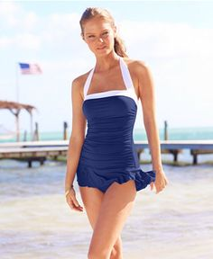 Cute halter swimdress - comes in red too!