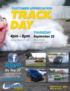 This is an event for us here at Livernois Motorsports to show how much we appreciate all that our clients do for us. Twice a year we rent out Milan Dragway located at: 10860 Plank Rd  Milan, MI 48160 and allow all of our clients to come out to safely test both their and their car's performance limits!   This event is COMPLETELY FREE OF CHARGE for all Livernois Motorsports clients! It is also a family friendly event. So feel free to bring the crew chief with you!