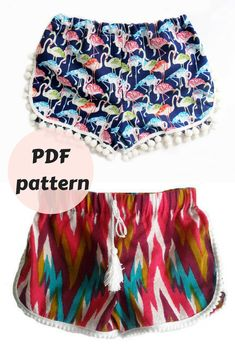 Sew your own cute boho shorts. Pattern is easy to follow and can be adjusted in size! Size 8M-8Y/ Baby Boho shorts Pattern/ Summer Shorts Pattern/ Toddler shorts pattern/Pompom boho shorts/ Childrens Sewing Pattern, gift idea, gift for her, DIY, craft idea #ad #craft #sewing #pattern #printable #DIY #boho #shorts