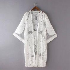 Floral Lace Design Bohemian Kimono Cardigan - Boho Chic Swimsuit Cover Up - All White Kimono Lace Design