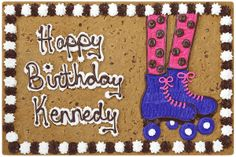 RollerSkatesHappyBDay_B1031P Rainbow Birthday, 11th Birthday, 6th Birthday Parties, Birthday Board, Birthday Fun, Party Emoji, Ice Skating Party, Roller Skating Party, Cookie Cake Birthday