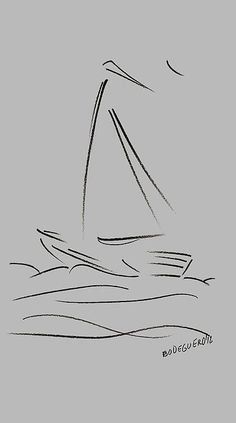 Drawing Doodles Ideas Simple Sailing Boat Drawings Greeting Card for Sale by Mario Perez - Drawing Techniques, Drawing Tips, Line Drawing, Boat Drawing Simple, Easy Drawings, Pencil Drawings, Sailboat Drawing, Boat Art, Fine Art America