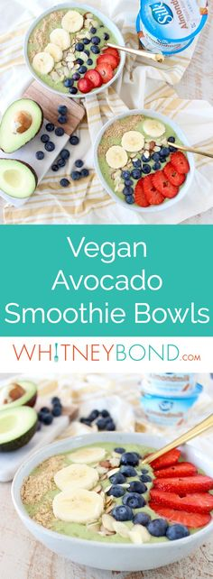 Fresh avocados, bananas and spinach are blended up with almond milk yogurt and coconut water in this delicious, vegan avocado smoothie bowl recipe! #vegan #recipe #glutenfree #avocado