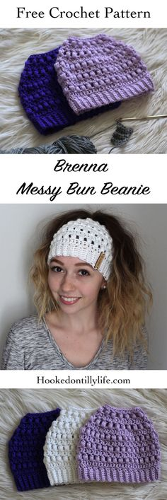 a6ae9bc0397 free crochet pattern messy bun beanie easy DIY tutorial hooked on tilly  ponytail hat top knot