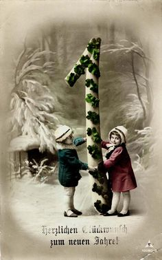 (New Years greeting) New Year Wishes, New Year Greetings, New Year Postcard, Antique Christmas, Christmas Images, More Fun, Happy New Year, Vintage Photos, Postcards