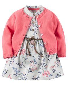 Ensemble 2 pièces robe et cardigan pour bébés filles | Carter's OshKosh Canada