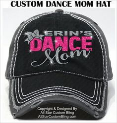 Glitter Dance Mom Hat, Custom Dance Mom Hat, Personalized Dance Mom Hat, Dance Mom Baseball Hat by AllStarCustomBling on Etsy