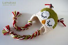 Lanukas: Gorrito hecho a crochet el búho durmiente