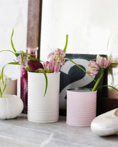 Charming Matte Painted Tin Can Vases: Great recipes and more at http://www.sweetpaulmag.com !! @?? ?? S. Paul Magazine