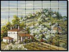 "Artwork On Tile: Fine Art Tumbled Marble Tuscan Landscape Tile Mural and Backsplash x - ""Olive Groves"" by Tisha Whitney - Perfect for kitchens, backsplashes, showers and other interior spaces. Tumbled Marble Tile, Sanded Grout, Tuscan House, Tile Murals, Golden Oak, Stone Tiles, Kitchen Backsplash, Landscape Art, Grape Vines"