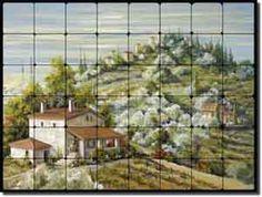 Olive Groves by Tisha Whitney - Tuscan tile mural backsplash by ArtworkOnTile.com