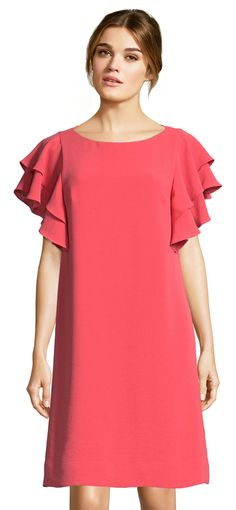 Adrianna Papell | Crepe Shift Dress with Flutter Sleeves and Tie Back