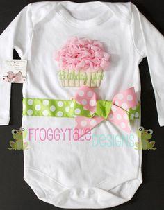 Birthday Girl Ruffle Sparkle Cupcake Bodysuit by FroggytaleDesigns, $39.00