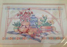 SOUTHWEST STILL LIFE Cross Stitch Kit Ann Craig Dimensions Sunset Pottery 1992 #DimensionsSunset