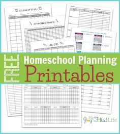 Free Homeschool Planning Printables - includes weekly, monthly, & yearly calendars; course of study sheet; curriculum price comparison sheet; attendance record; grade record; and reading log.