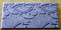 PAISLEY PARTY  Retro Texture Tile Stamp  by artisticrenderings (Craft Supplies & Tools, Patterns & Tutorials, Jewelry & Beading, Clay, Stamp, Techie, Abstract, Rubber, Intricate, Detailed, Texture, deeply etched, Ameba, paisley party, swirling, zentangle design)