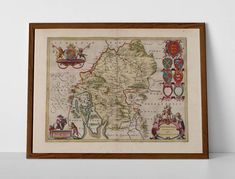 Westmorland, Old Map of Cumbria, originally created by Willem Janszoon Blaeu, now available as a 'museum quality' vintique wall decoration print.  #Appleby #Bampton #Barton #Brough #homedecor #travelposter #interiordesign #Grasmere #hahnemuhle #kendal #KirkbyStephen #oldmap #cumbria #westmorland #Patterdale #Shap #Windermere #Yanwath