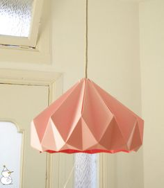 Chestnut Paper Origami Lampshade, Pink by Studio Snowpuppe modern lamp shades