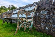 Park Bench, Old, Grass, Rusty