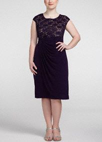This exquisite lace sequin dress will make you the center of attention at any special event!  Cap lace bodice features sparkling and delicate lace sequin detail.  Brilliant side draped skirt adds dimension and creates a slimming silhouette.  Bodice features contrasting color with eggplant lace and nude lining.  Fully lined. Imported nylon/poly/spandex blend. Hand wash cold.