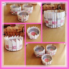 Porta velas con latas de atun, pinzas de ropa, o maderitas que tengas por casa, este en tono Rosa../ DIY By Luz Arias...
