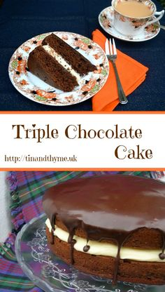A truly decadent triple chocolate layer cake with a white chocolate mascarpone filling and a dark chocolate glaze.
